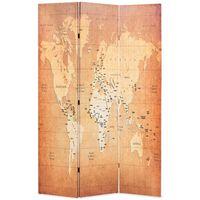 vidaXL sárga világtérkép mintás paraván 120 x 170 cm