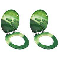 vidaXL 2 db zöld vízcseppmintás MDF WC-ülőke finoman záródó fedéllel