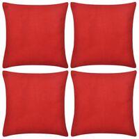 4 db pamut párnahuzat 80 x 80 cm piros