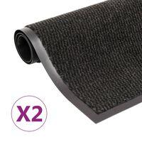 vidaXL 2 db fekete négyszögletes bolyhos szennyfogó szőnyeg 120x180 cm