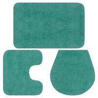 vidaXL 3 darabos türkizkék szövet fürdőszobaszőnyeg-garnitúra