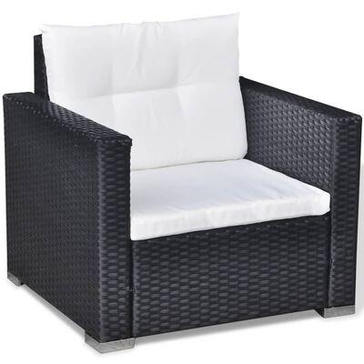 vidaXL 6-részes fekete polyrattan kerti bútorszett párnákkal