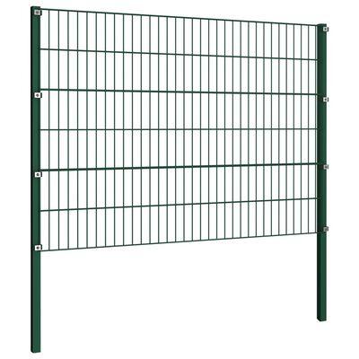vidaXL zöld vas kerítéspanel oszlopokkal 15,3 x 1,2 m