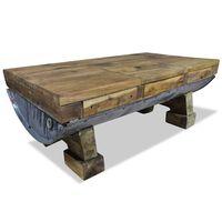 vidaXL tömör újrahasznosított fa dohányzóasztal 90 x 50 x 35 cm