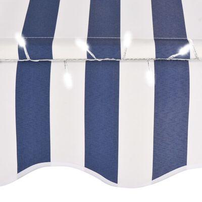 vidaXL kék és fehér kézzel kihúzható LED-es napellenző 300 cm