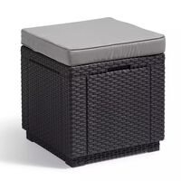 Allibert 213785 grafitszürke, kocka alakú puff tárolórésszel