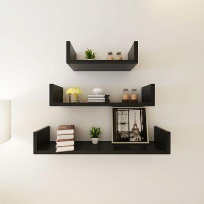 3 fekete MDF U-alakú lebegő könyv-/DVD-tároló fali polcok