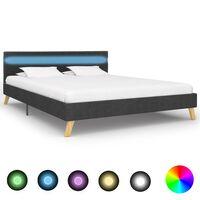 vidaXL sötétszürke szövetkárpitozású LED-es ágykeret 160 x 200 cm