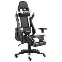 vidaXL fehér PVC forgó gamer szék lábtartóval