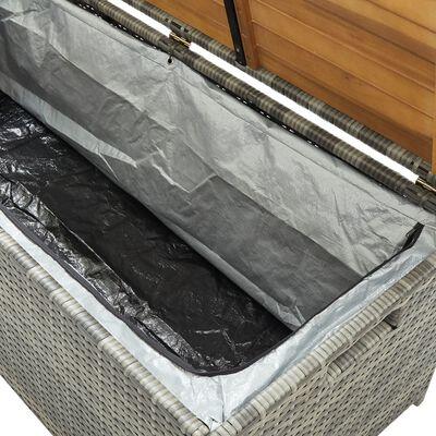 vidaXL szürke polyrattan kerti tárolópad 120 cm