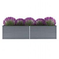 vidaXL szürke horganyzott acél kerti magaságyás 320 x 80 x 77 cm