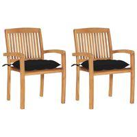 vidaXL 2 db tömör tíkfa kerti szék fekete párnával