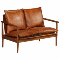vidaXL barna valódi bőr és akácfa kétszemélyes kanapé