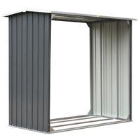 vidaXL szürke horganyzott acél kerti tűzifatároló 172 x 91 x 154 cm