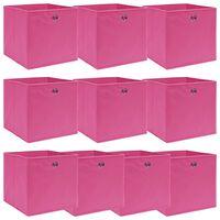 vidaXL 10 db rózsaszín szövet tárolódoboz 32 x 32 x 32 cm