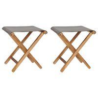 vidaXL 2 db sötétszürke tömör tíkfa és szövet összecsukható szék
