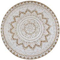 vidaXL kör alakú, fonott juta szőnyeg nyomott mintával 90 cm