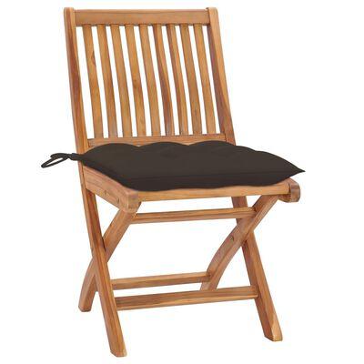 vidaXL 4 db összecsukható tömör tíkfa kerti szék párnákkal