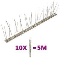 vidaXL 10 db 5 m-es ötsoros rozsdamentes acél madár- és galambtüske