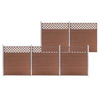 vidaXL 5 db négyszögletes barna WPC kerítéselem 872 x 185 cm