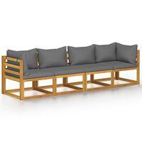 vidaXL 4 személyes tömör akácfa kerti kanapé párnával