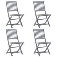 vidaXL 4 db összecsukható tömör akácfa kültéri szék