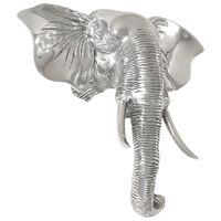 vidaXL ezüstszínű tömör alumínium elefántfej szobor 38 x 19 x 36 cm