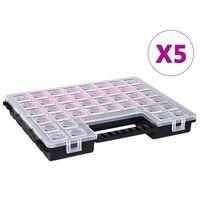 vidaXL 5 db műanyag tárolódoboz állítható elválasztókkal 385x283x50 mm