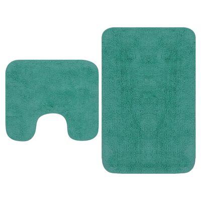 vidaXL 2 darabos türkizkék szövet fürdőszobaszőnyeg-garnitúra