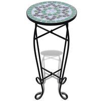 Mozaik Kávézóasztal Növénytartó Asztal Zöld Fehér