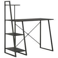 vidaXL fekete íróasztal polcrendszerrel 102 x 50 x 117 cm