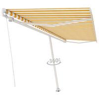 vidaXL sárga és fehér kézzel kihúzható póznás napellenző 500 x 350 cm