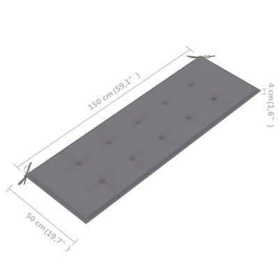 vidaXL tömör tíkfa kerti pad szürke párnával 150 cm