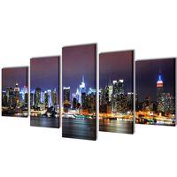 Vászon falikép szett színes new york-i Skyline 100 x 50 cm