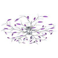 vidaXL csillár lila akril kristály levél karokkal 5 db E14 izzó