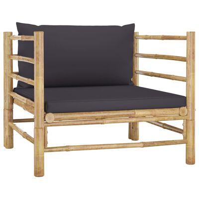 vidaXL 8 részes bambusz kerti bútorszett sötétszürke párnákkal