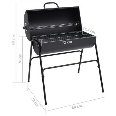 vidaXL fekete acél henger alakú grillsütő 2 sütőráccsal 80x95x90 cm