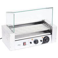 vidaXL 5 hengeres hot dog virslisütő gép üvegfedéllel 1000 W