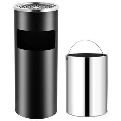 vidaXL fekete acél hamutartó szemeteskukával 30 L