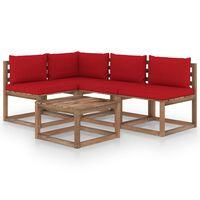 vidaXL 5 részes kerti bútorgarnitúra piros párnákkal