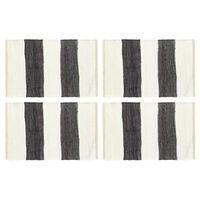 vidaXL 4 db fehér-antracitszürke csíkos pamut tányéralátét 30 x 45 cm