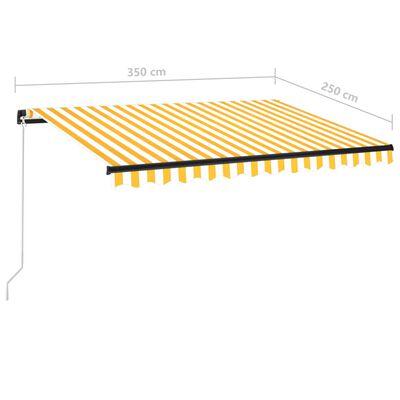 vidaXL sárga és fehér kézzel kihúzható LED-es napellenző 350 x 250 cm