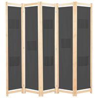 vidaXL szürke 5-paneles szövetparaván 200 x 170 x 4 cm