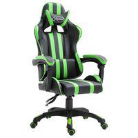 vidaXL zöld műbőr gamer szék