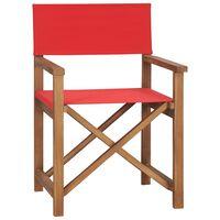 vidaXL piros tömör tíkfa rendezői szék