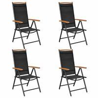 vidaXL 4 db fekete összecsukható alumínium és textilén kerti szék