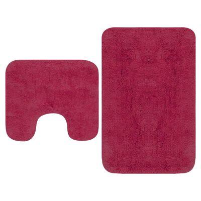 vidaXL 2 darabos fuksziaszínű szövet fürdőszobaszőnyeg-garnitúra