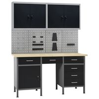 vidaXL munkapad négy fali panellel és két szekrénnyel
