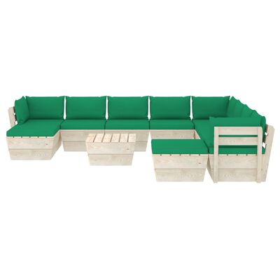 vidaXL 11 részes lucfenyő kerti raklap-bútorgarnitúra párnákkal