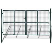 vidaXL két kapus pórszórt acél kerítés